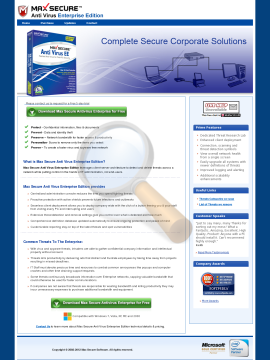 Secure Anti Virus Enterprise Edition Full Version preview. Click for more details