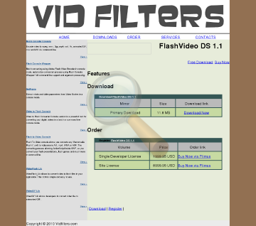 Vidfilters Flashvideo Single Developer License preview. Click for more details